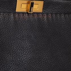 Fendi Black Selleria Leather Large Peekaboo Top Handle Bag