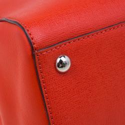 Fendi Orange Saffiano Leather 2Jours Tote