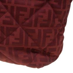 Fendi Red Zucca Quilted Canvas Roll Tote