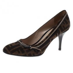 a8a0cafa2f6 Fendi Zucca Canvas and Leather Pumps Size 38