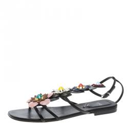 35e014d4b87a Fendi Multicolor Leather Flowerland Ankle Strap Gladiator Sandals Size 37.5