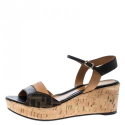 938d606b5 Fendi Brown Black Zucca Canvas and Leather Wedge Sandals Size 38