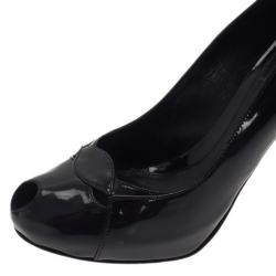 Fendi Black Patent Peep Toe Cutout Pumps Size 39.5