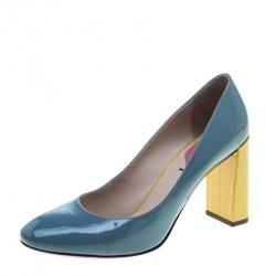 Fendi Multicolor Patent Leather Eloise Round Toe Pumps Size 39