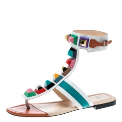 557d0ffda6eb Fendi Multicolor Leather Studded Ankle Cuff Flat Sandals Size 36