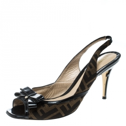9c894e01727 Fendi Brown Zucca Canvas and Black Patent Leather Bow Slingback Sandals Size  39.5