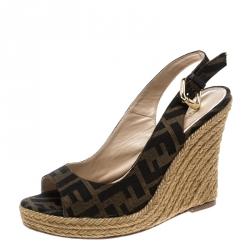 0ca450792 Fendi Brown Zucca Canvas Slingback Espadrille Wedge Platform Sandals Size 37