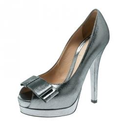8166aa0cd36 Fendi Grey Shimmering Suede Deco Bow Peep Toe Platform Pumps Size 36