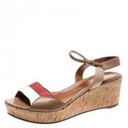 5bdb591ff Fendi Tricolor Leather Open Toe Ankle Strap Wedge Platform Sandals Size 41