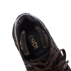 Fendi Brown Zucca Canvas And Leather Lace Up Sneakers Size 40