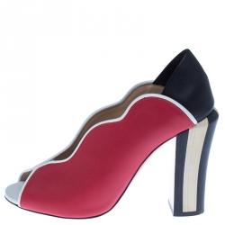 Fendi Multicolor Leather Scallop Lined Peep Toe Pumps Size 38.5
