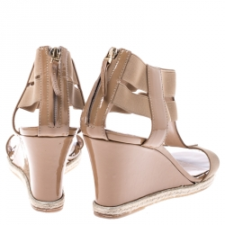 Fendi Beige Patent Leather T-Strap Espadrille Wedge Sandals Size 39