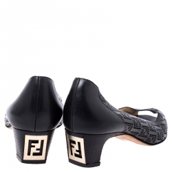 Fendi Black Perforated Leather Peep Toe Pumps Size 38