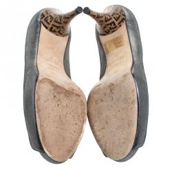 Fendi Gunmetal Lamé Fabric Zucchino Heel Peep Toe Platform Pumps Size 39