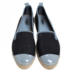 Fendi Black Denim And Grey Patent Leather Junia Cap Toe Espadrilles Loafers Size 37
