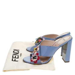Fendi Blue Patent Leather Flowerland Block Heel Slides Size 38