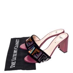 Fendi Black Velvet Multicolor FF Logo Slip On Slides Size 38.5
