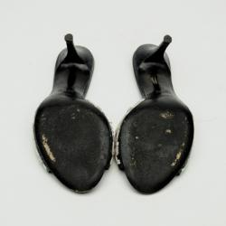 Fendi Black Embellished Leather Slides Size 37
