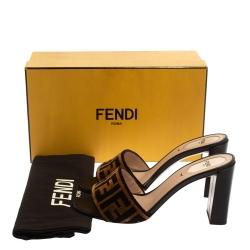 Fendi Brown Zucca Velvet Open Toe Slide Sandals Size 39