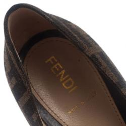 Fendi Tobacco Zucca Canvas Fendista Platform Pumps Size 37.5