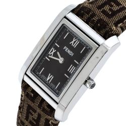 Fendi Brown Stainless Steel Canvas 7600M Women's Wristwatch 27 mm