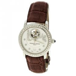 Frederique Constant White Mother of Pearl Stainless Steel Heart Beat Women's Wristwatch 35 mm