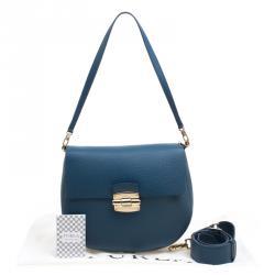 Furla Blue Leather Small Club Crossbody Bag
