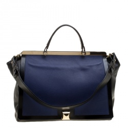 93218d9ae0c0 Furla Black Blue Leather Cortina Top Handle Bag