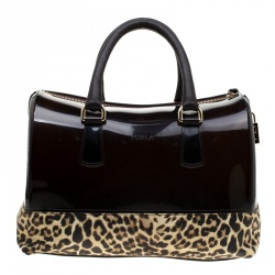 Furla Leopard Print Rubber and Leather Candy Satchel