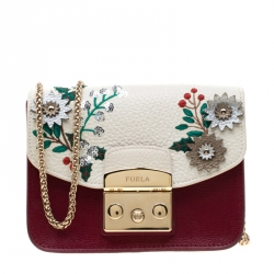 d7f20e878b Furla Red/White Flower Embroidered Leather Mini Metropolis Crossbody Bag
