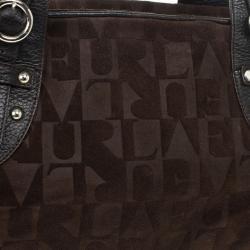Furla Brown Suede Monogram Satchel