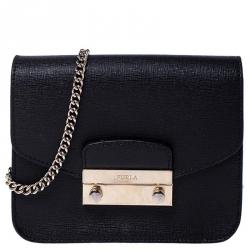 Furla Black Leather Metropolis Crossbody Bag