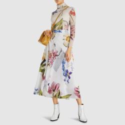 Ganni White Tilden Long Sleeve Floral Print Mesh Top DK  38