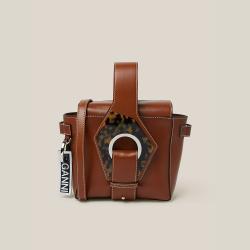Ganni Brown Tortoiseshell Detail Top Handle Mini Bag