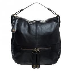 Gerard Darel Black Leather Midday Midnight Hobo