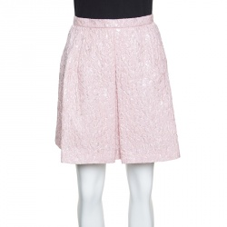 82dacc6598f3 Giambattista Valli Pink Floral Embossed Jacquard Inverted Pleat Mini Skirt M