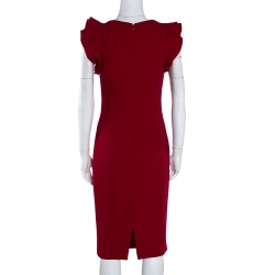 Giambattista Valli Red Crepe Wool Ruffled Detail Pencil Dress S