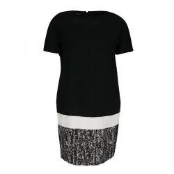 84781a2c970375 Giambattista Valli Monochrome Drop Waist Wool Shift Dress S