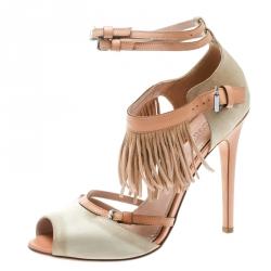 f80915d94 Giambattista Valli Beige Satin Leather Trim Fringe Ankle Strap Sandals Size  40.5