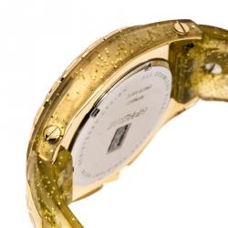 GF Ferre Yellow Gold Plated Stainless Steel Rubber GF9024J Women's Wristwatch 43 mm