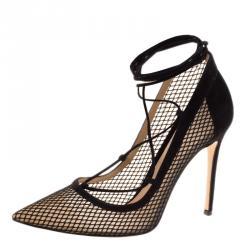 b55f5d4d8b1 Buy Dior Black Mesh J adior Resille Pointed Toe Slingback Flats Size ...