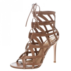 14a5fd28db1 Gianvito Rossi Beige Leather Adina Lace Up Caged Sandals Size 38.