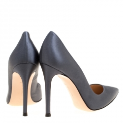 Gianvito Rossi Grey Satin Pointed Toe Pumps Size 35.5