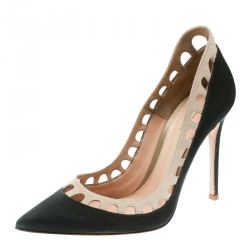 98a377effd3 Gianvito Rossi Dark Grey Beige Satin and Suede Cut Out Collar Pointed Toe Pumps  Size