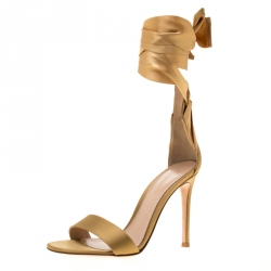6eed6001296 Gianvito Rossi Gold Satin Gala Ankle Wrap Open Toe Sandals Size 35.5