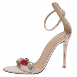 50dc9064e1c5 Gianvito Rossi Light Pink Crystal Embellished Satin Cherry Portofino Ankle  Strap Open Toe Sandals Size 37