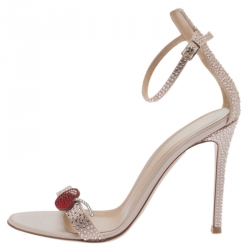 c7869a408ae Gianvito Rossi Light Pink Crystal Embellished Satin Cherry Portofino Ankle  Strap Open Toe Sandals Size 37