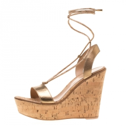 6046ab8c0b4 Gianvito Rossi Metallic Gold Leather Ankle Wrap Cork Wedge Sandals Size 40