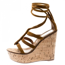 aa9b97a423 Gianvito Rossi Brown Suede Cork Wedge Ankle Wrap Strappy Sandals Size 36.5