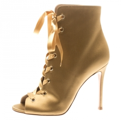 06e6d3f21 Gianvito Rossi Gold Satin Marie Peep Toe Lace Up Ankle Booties Size 37.5